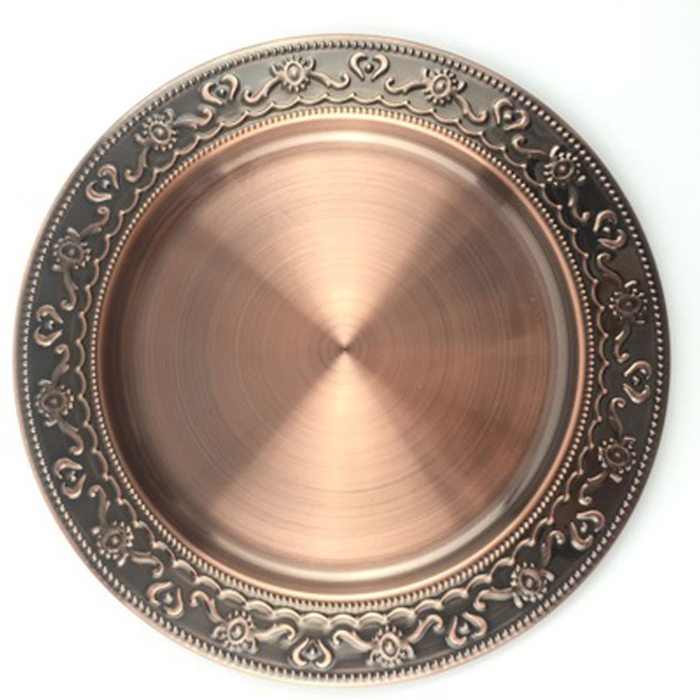 Stainless Steel Metal Plate Dishes Bronze Round Dish Serving Tray Charger Tea Cup Holder Dinnerware Snack Fruit  sc 1 st  eBay & Stainless Steel Metal Plate Dishes Bronze Round Dish Serving Tray ...