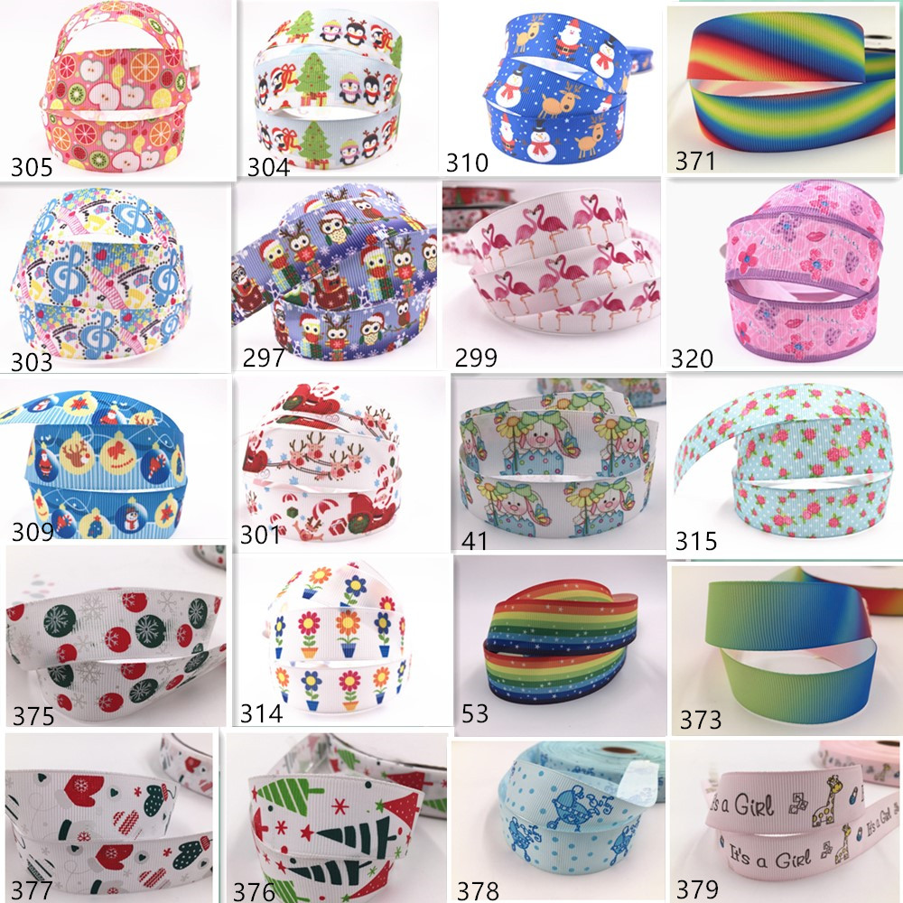 Crafts printed grosgrain ribbon Hair bow sewing 25mm Wholesale 2-10yds 1/'/'