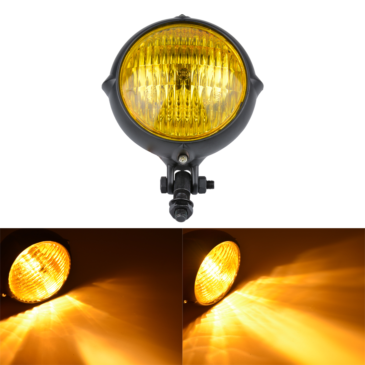 """7/"""" LED Retro Motorcycle Bullet Chrome Headlight Light For Harley Cruiser Bobber"""