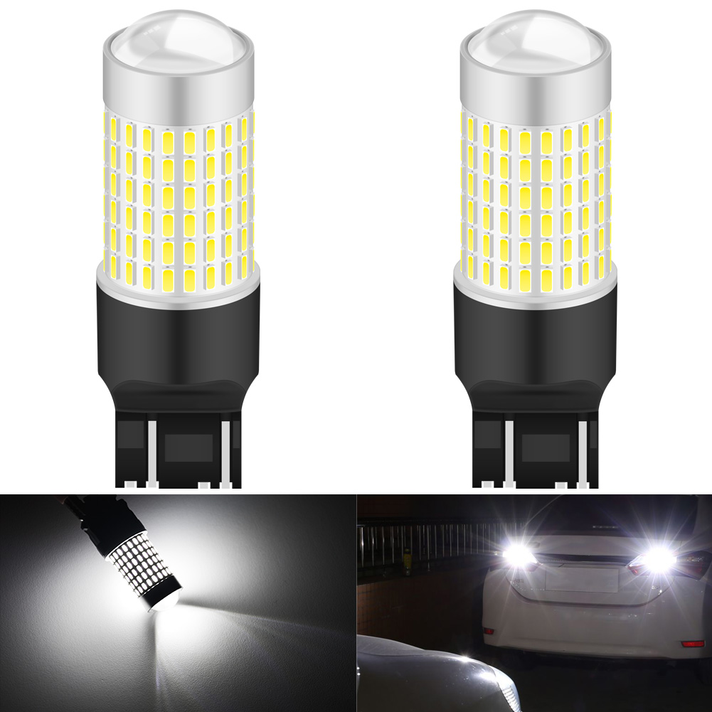 1 Pair 6000K 7443 144 SMD LED Lights Projector Turn Signal Reverse Bulbs