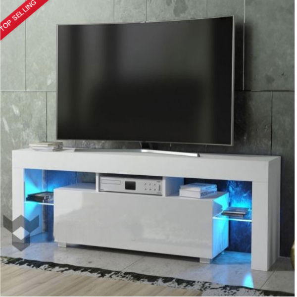 Details About White Gloss Tv Stand Unit Cabinet With Led Light Shelves Drawer Console