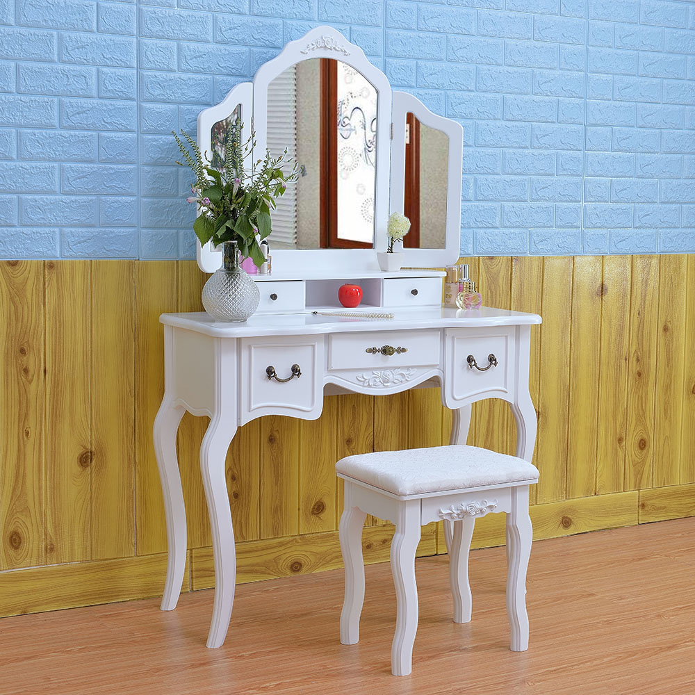 Pleasing Details About White Tri Folding Mirror White Wood Vanity Set Makeup Table Dresser With Stool Squirreltailoven Fun Painted Chair Ideas Images Squirreltailovenorg