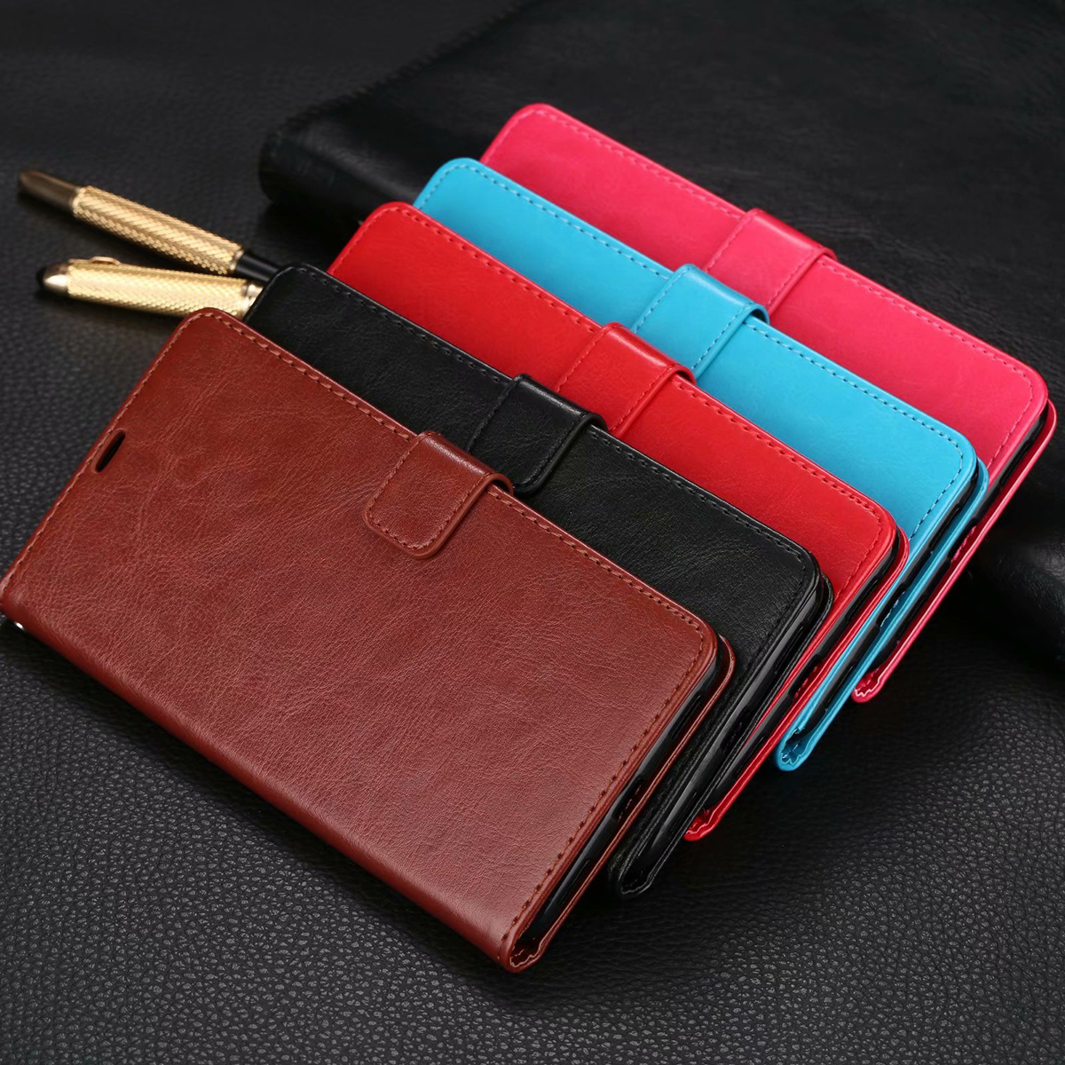 For Xiaomi Mi Max 3 Folio Magnetic PU Leather Wallet Card Soft Case Stand Cover