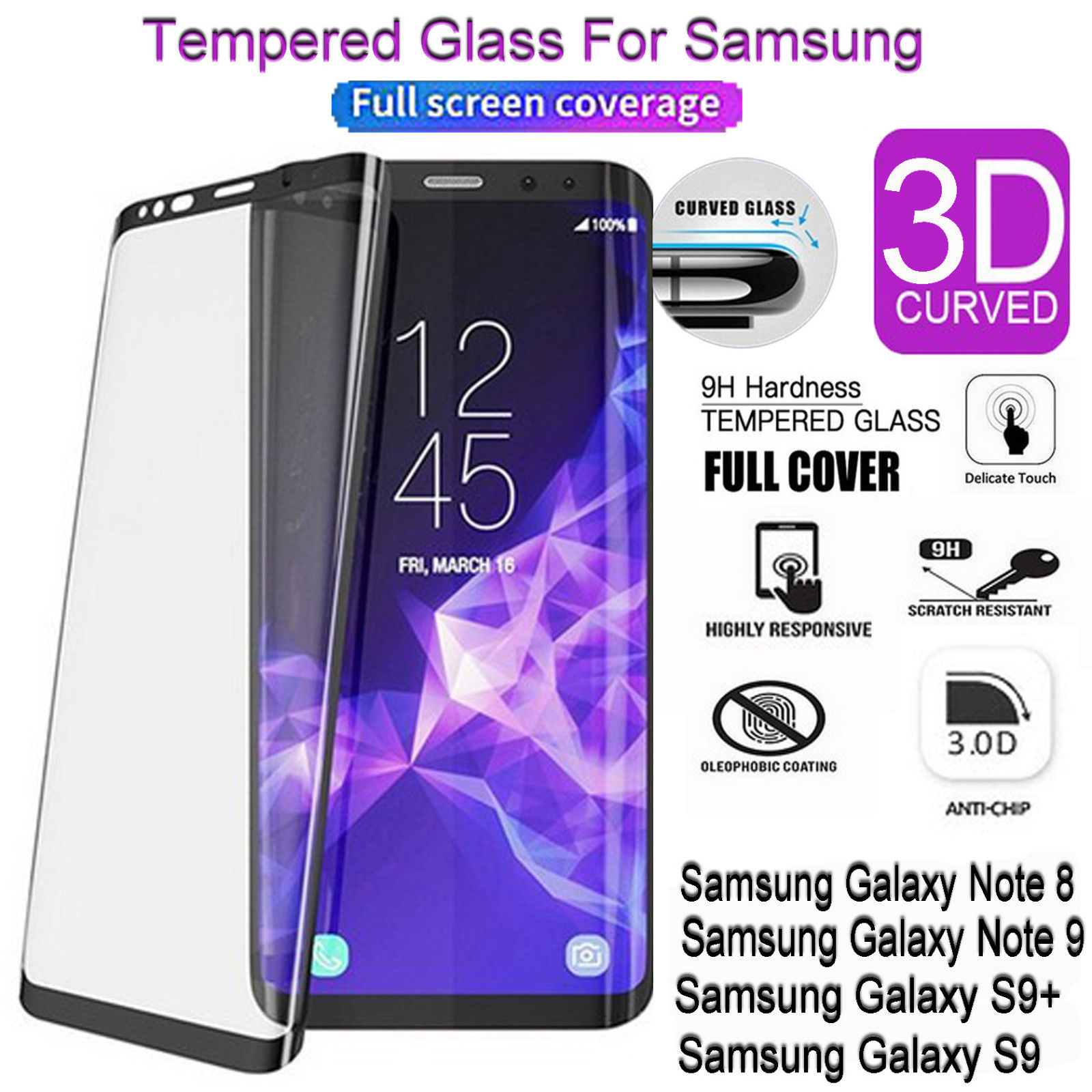 Details about 3D Curved Tempered Glass Screen Protector For Samsung Galaxy Note9 S8 S9 Plus IY
