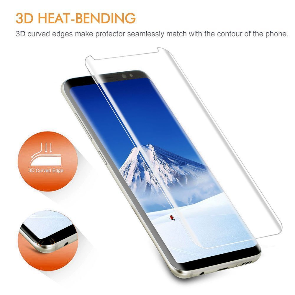 Samsung Galaxy Note 8 S8 Plus 3d Full Curved Tempered Glass Premium Case Friendly Good Touchscreen Clear Bening