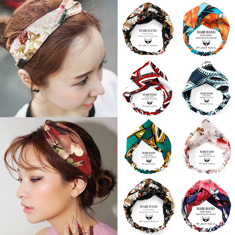 Ladies twist knot pattern headband elastic head wrap turban hair band flower