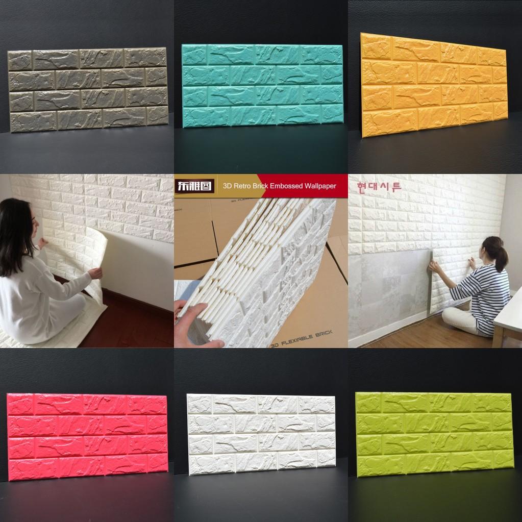 100pcs 3d mousse brique en pierre autocollant papier peint diy autocollant mural ebay. Black Bedroom Furniture Sets. Home Design Ideas