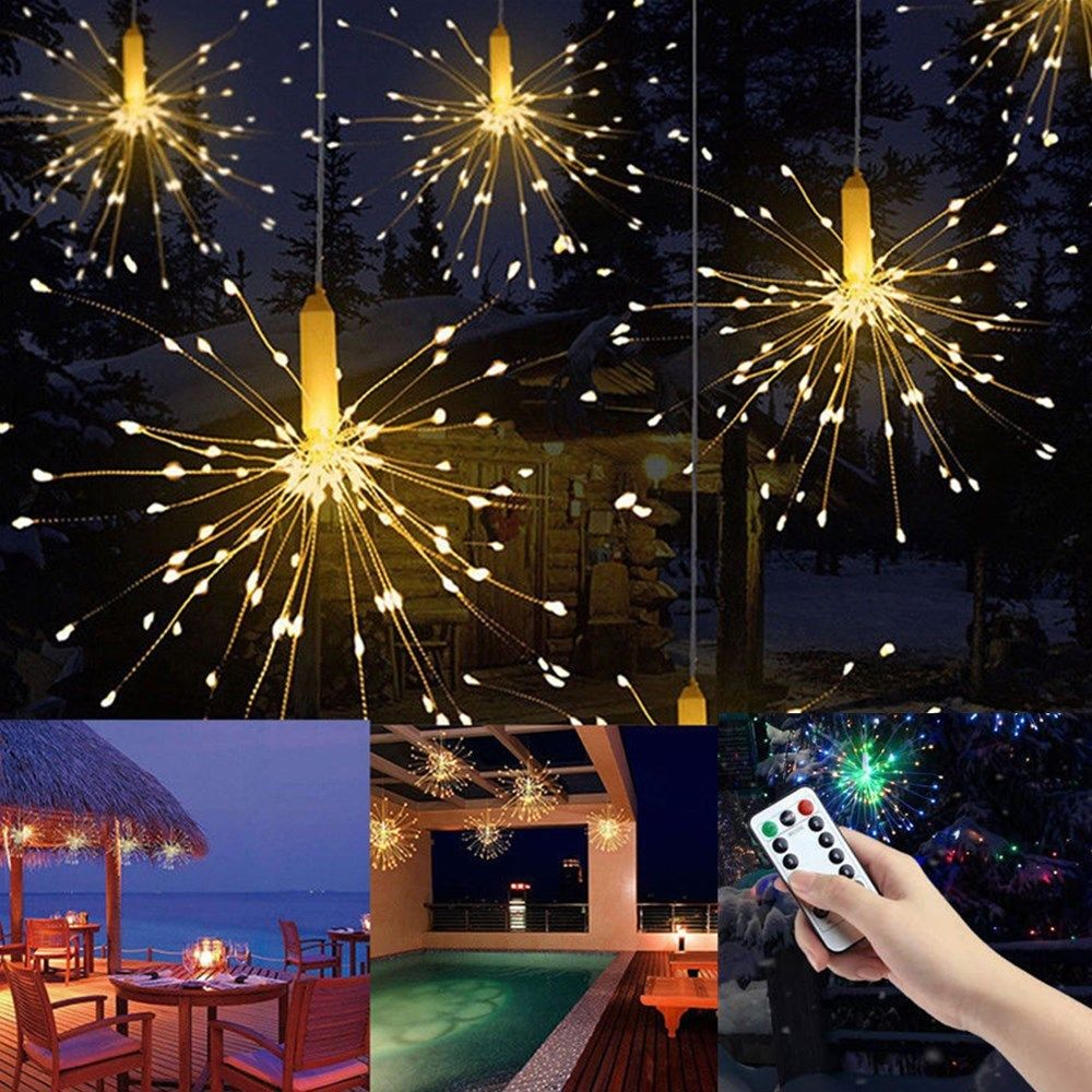 Details About Firework Led Copper Fairy Wire String Lights Remote Control Christmas Decor Xmas