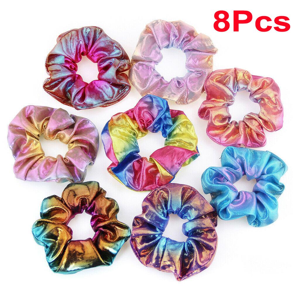 8Pcs Shiny Metallic Hair Scrunchies Ponytail Holder Elastic Hair Ties Bands AN