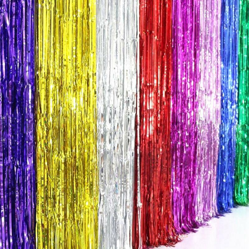 2m 3m Shimmer Foil Glitter Tinsel Backdrop Curtain Birthday Party Decor Ebay