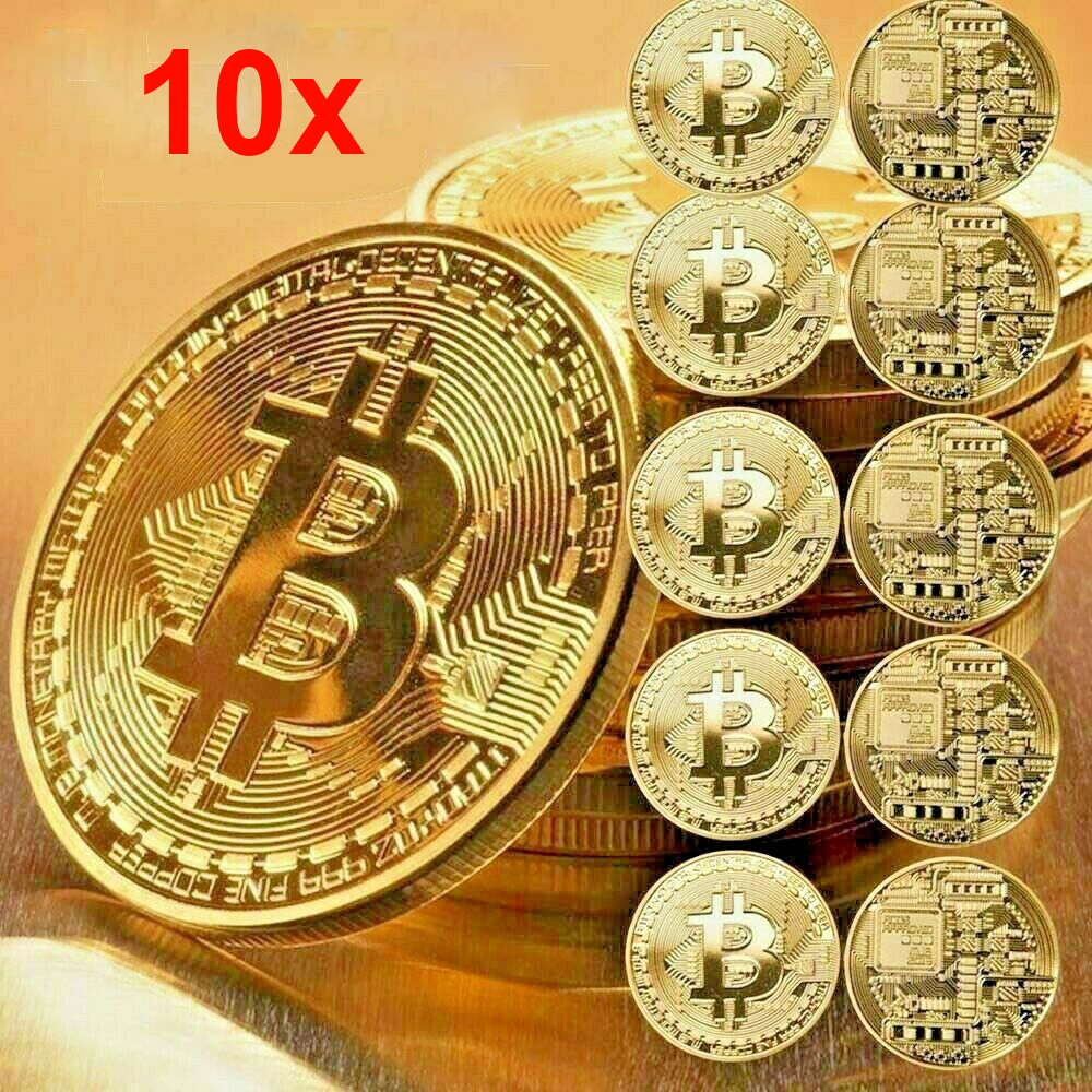 Actual Physical Bit Coin with Gold Plating Display Item Case and Box Collectors Set Gold Bit Coin