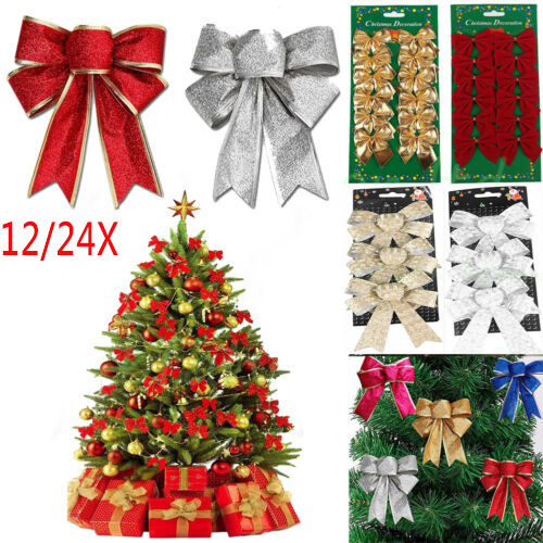 24X Bows Christmas Tree Decorations