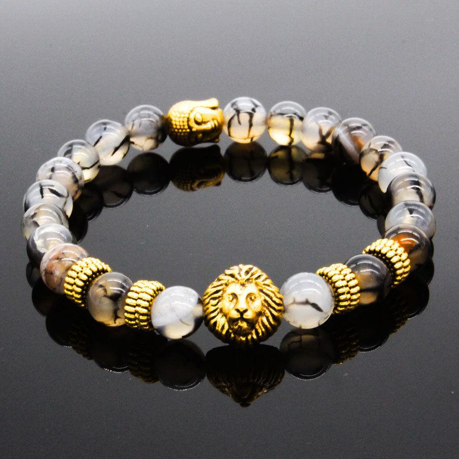Cocotina Fashion Mens Black Lava Stone Silver Lion Beaded Charm Source · Men s Fashion 8MM Natural Stone Gold Silver Lion Buddha Beaded Charm Bracelets