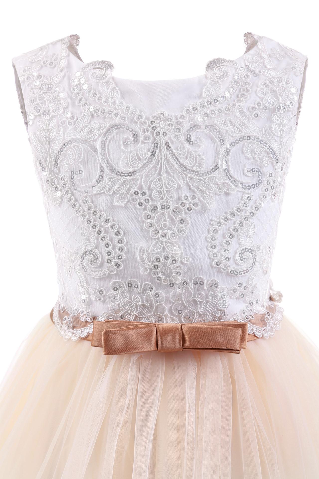 Blumen Mädchen Prinzessin Kleid Lang Spitze Hochzeit Abendkleid ...