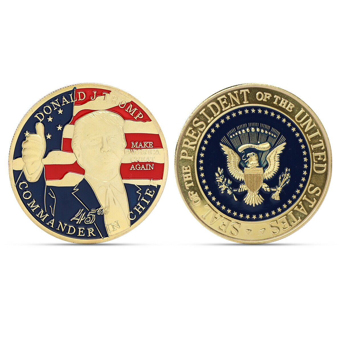 1PC 45th Donald Trump Gold Plated Make America Great Again Commemorartive Coin Q
