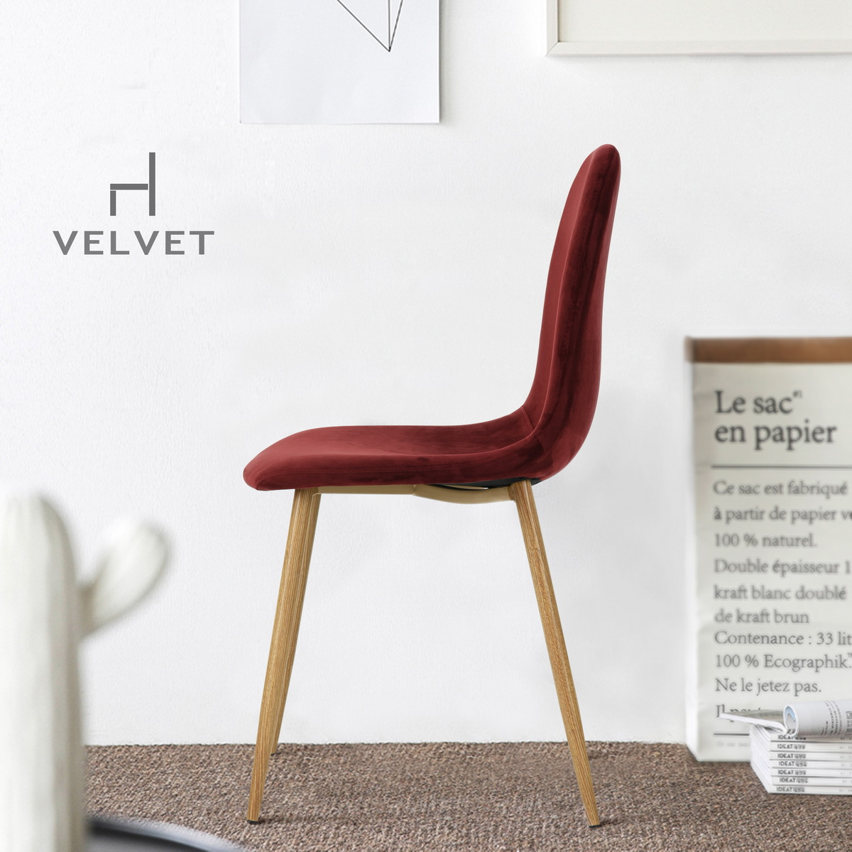 Set Of 4 Dining Chairs Scandinavian Retro Vintage Velvet Wine Red