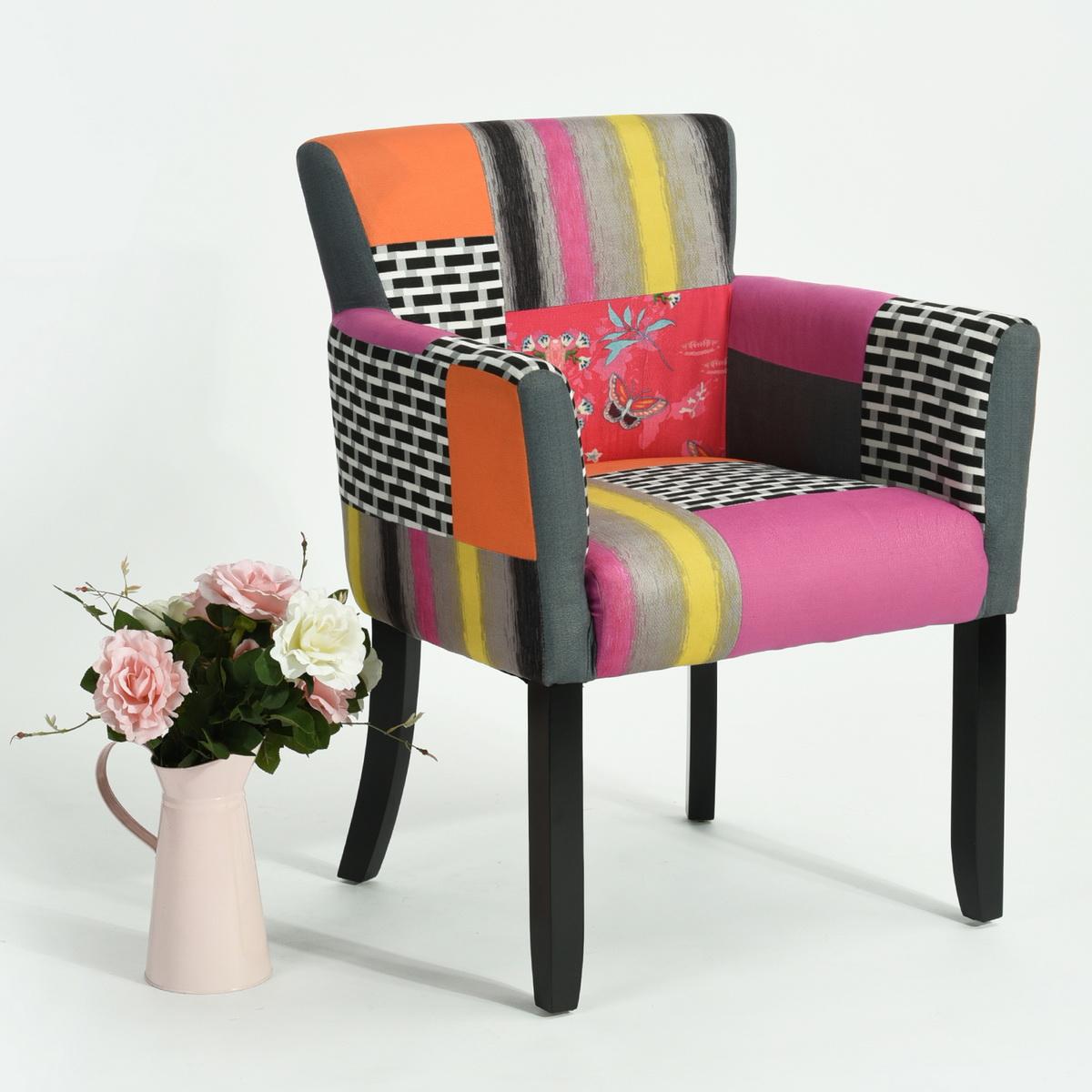 Fauteuil Club Chaise Séjour Design Moderne Patchwork Multicolore - Fauteuil multicolore design