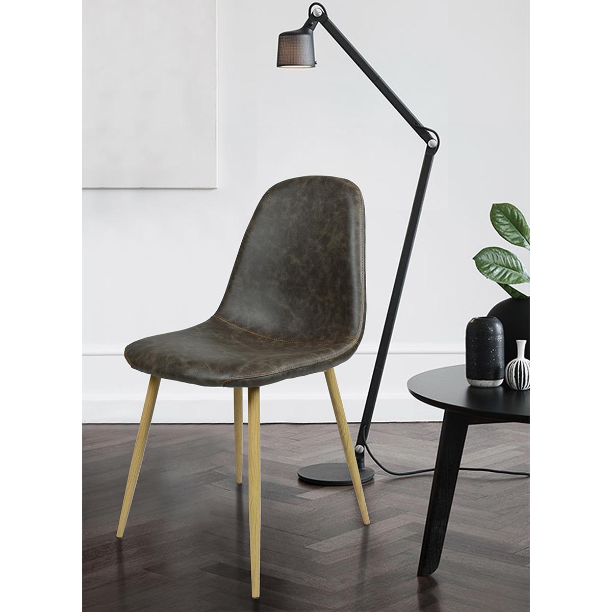 lot de 4 chaises scandinave r tro vintage antique pu gris. Black Bedroom Furniture Sets. Home Design Ideas