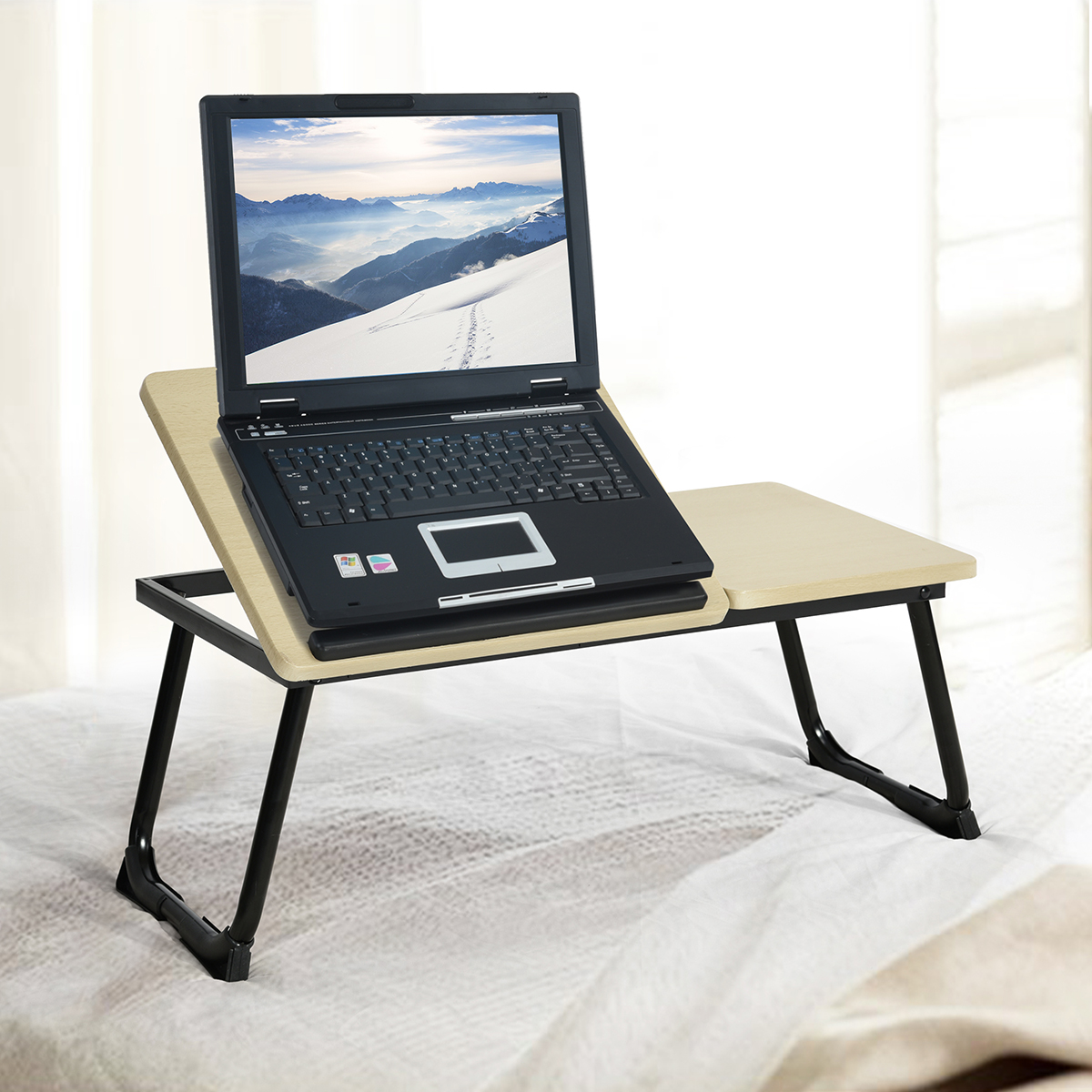 Portable Laptop Desk Notebook Stand Wooden Table Top Mixed With Sy Metal Leg