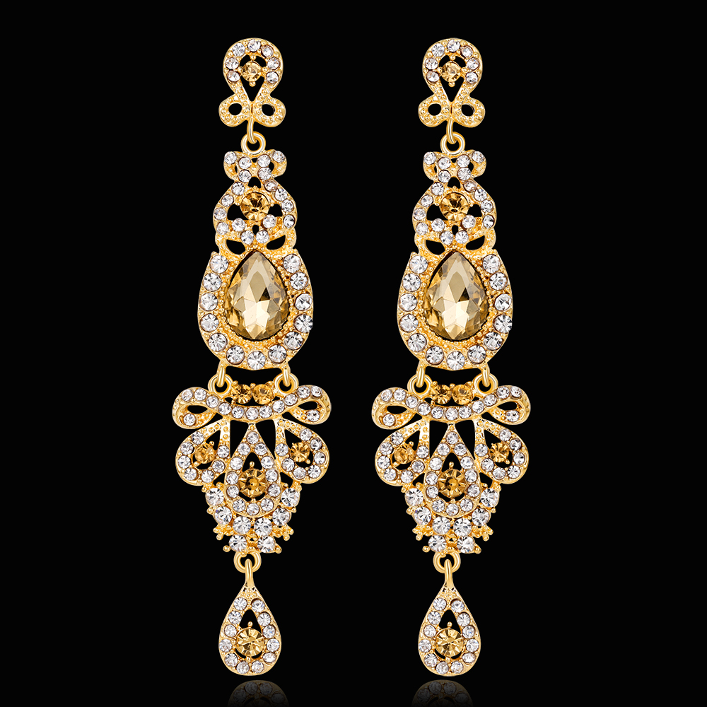 Gold Color Crystal Rhinestone Chandelier Long Drop Earrings Wedding Prom Jewelry