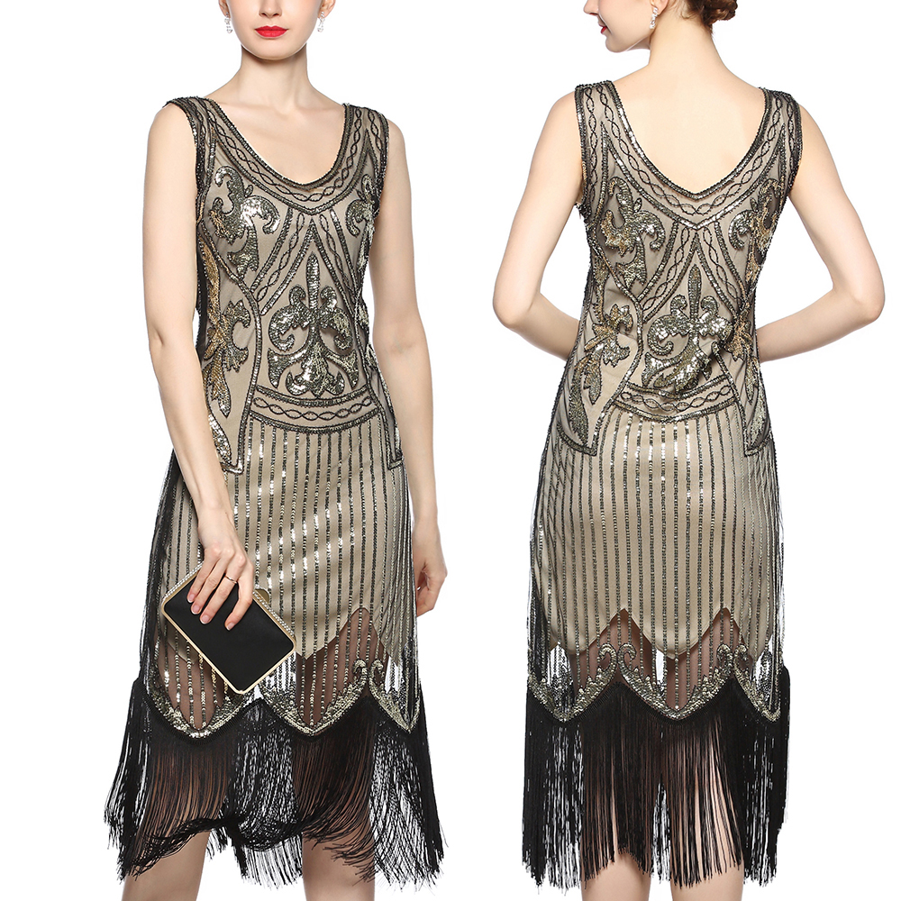 1920s Gatsby Vintage Flapper Formal Evening Prom Cocktail Party Dress UK 6-20