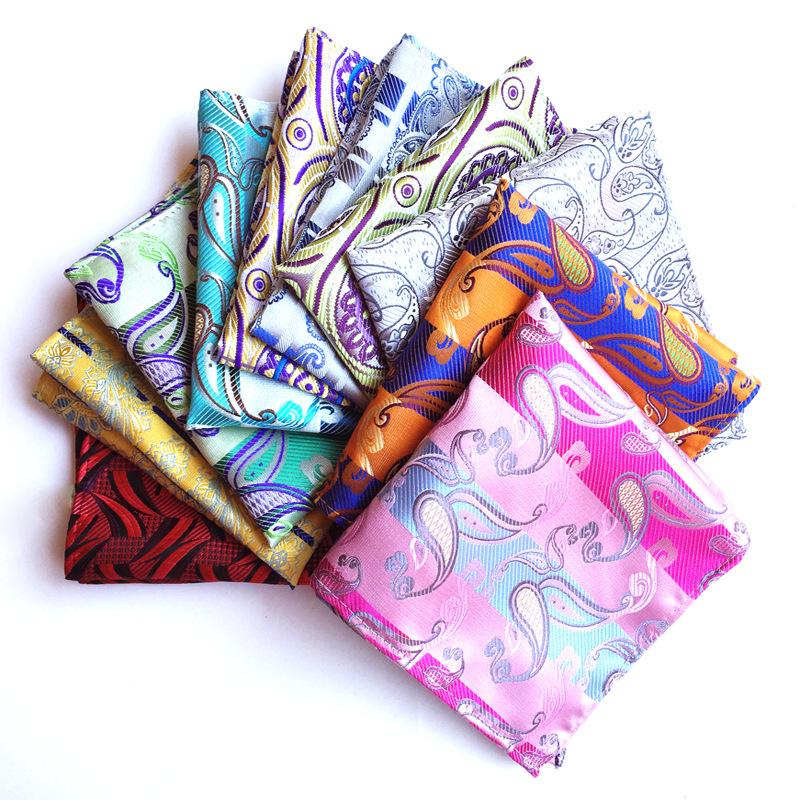 FE Paisley Floral Handkerchief Mens Silk Pocket Square Hanky Wedding Party Blue