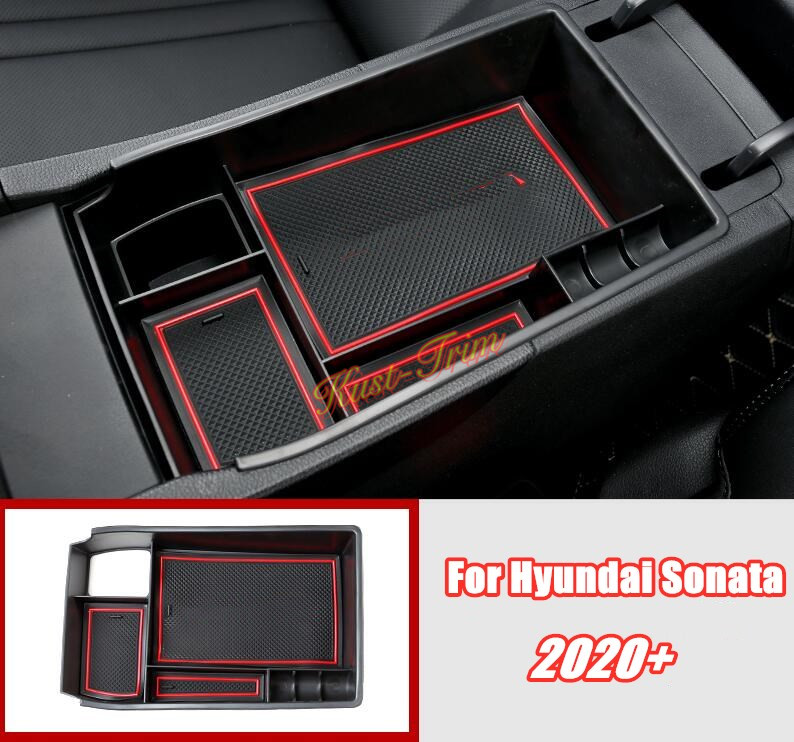 SKTU Compatible with 2021 Elantra Update Center Console Storage Box Organizer Container Armrest Insert Organizer ABS Tray Pallet with USB Hole and Coin Holder 21 Elantra at