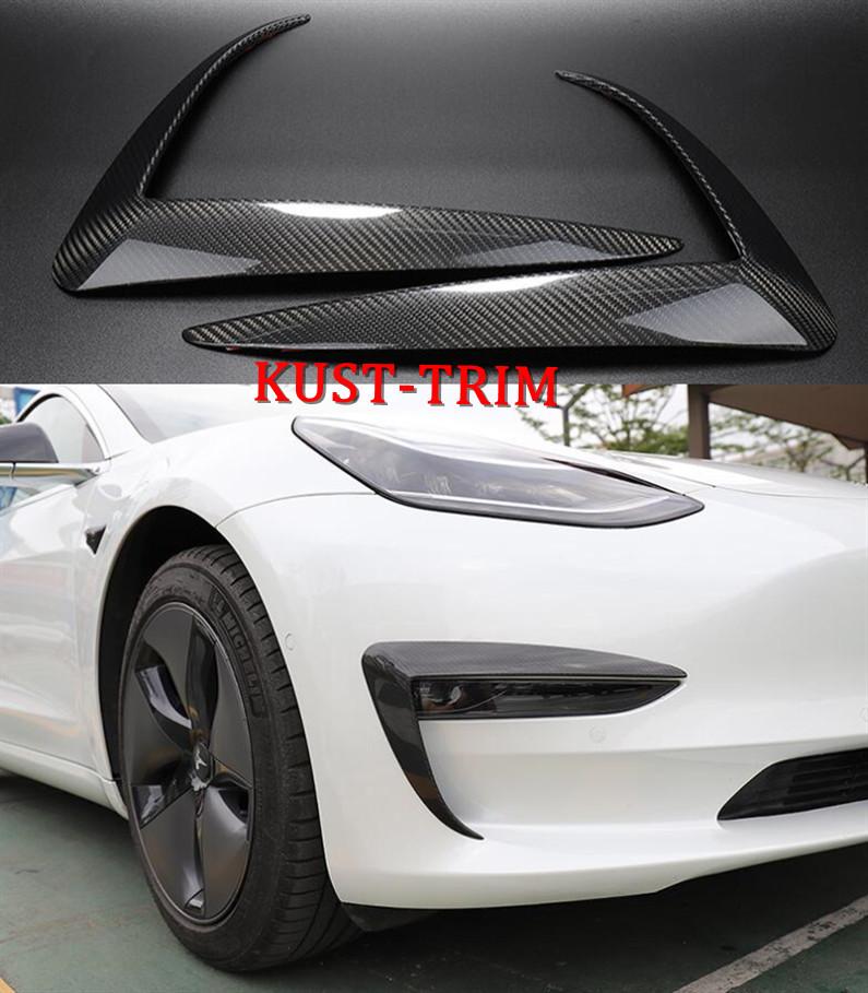 For 17-19 Tesla Model 3 Carbon Fiber Front Fog Light Lamp Eyebrow Cover Trim 2PC