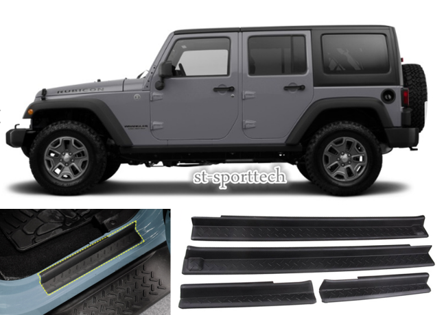 4PCS Door Sill Plate Entry Guards Protector Trim  FOR 2007-2017Jeep Wrangler JK