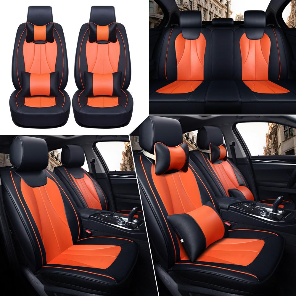 Black/Orange Car Seat Cover Set W/Pillows 5-Seats PU Leather Front+Rear Cushion