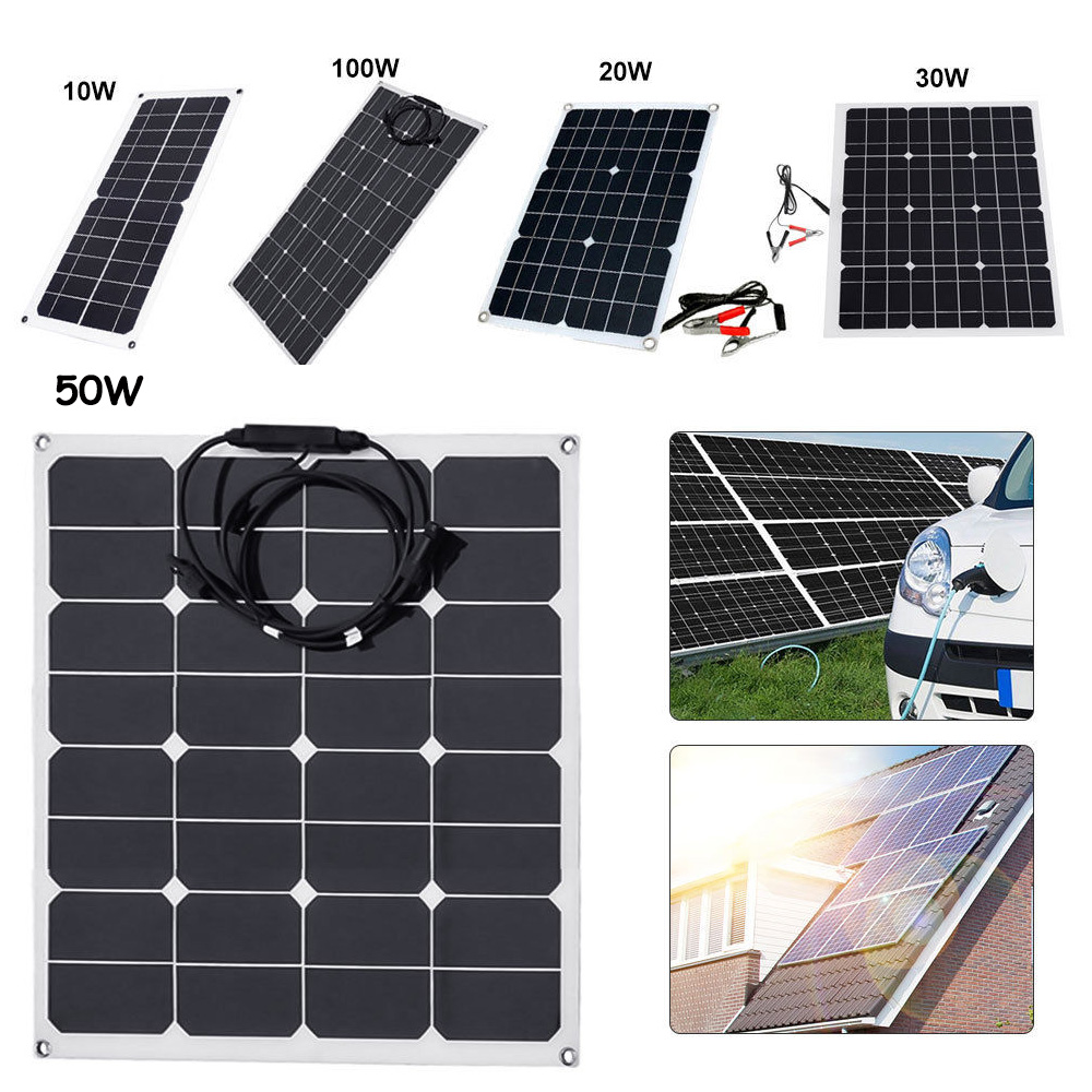 10W Portable Solar Power Panel 12V Mono Battery Charger for Car Marine Boat RV