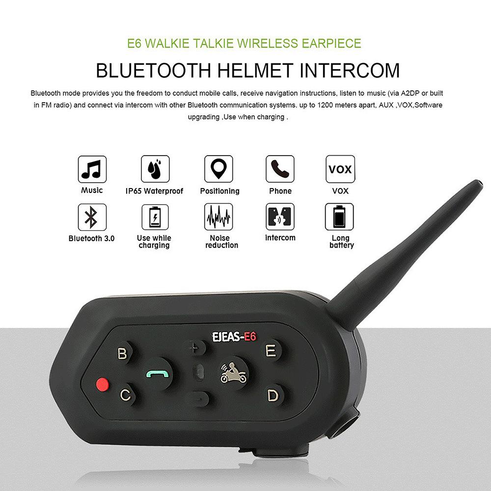 Motorcycle 6 Riders Bluetooth Helmet Interphone Intercom Headset Kit Electronic 2014 New Fm Radio Walkie Talkies Circuit Board 1200m E6