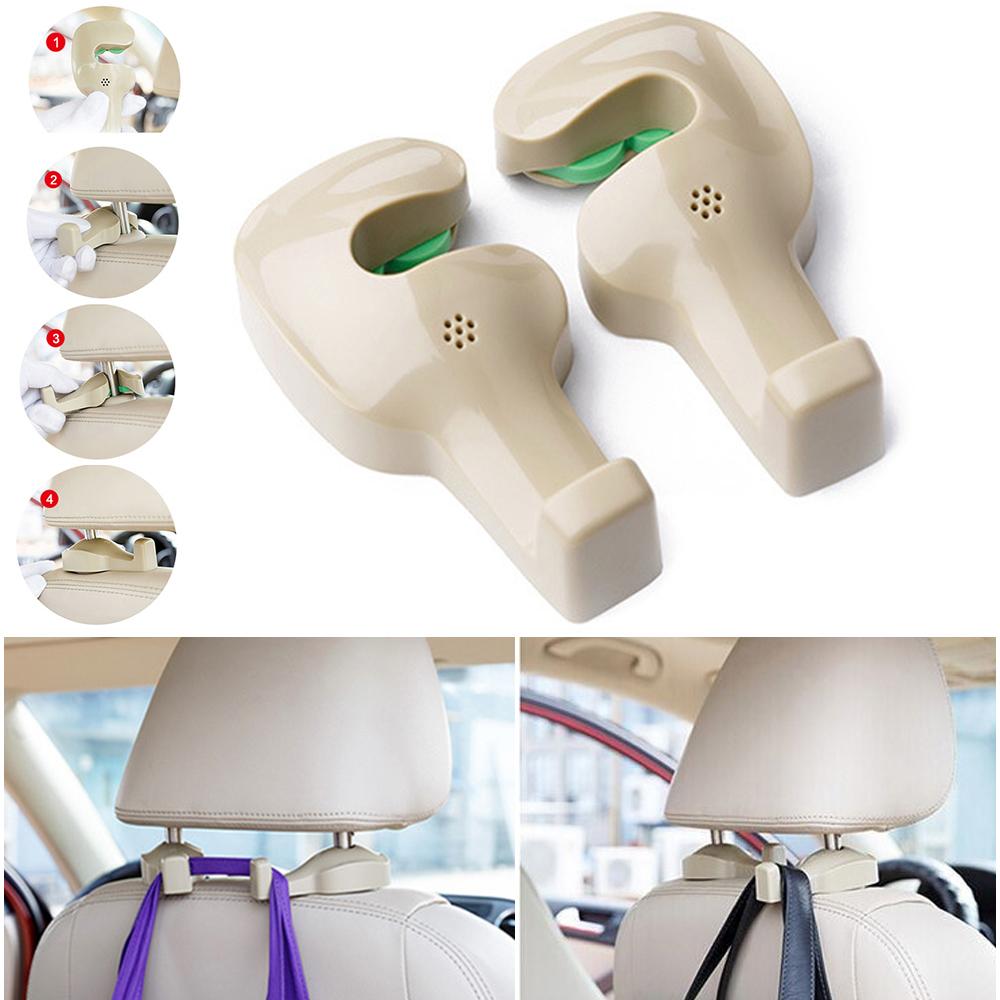 2× Universal Vehicle Car Back Seat Holder Hook Headrest  Bag Purse Hanger Beige