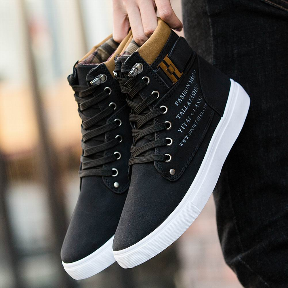 Fashion Mens Oxfords Casual High Top Shoes Leather Shoes Canvas Sneakers Loafers