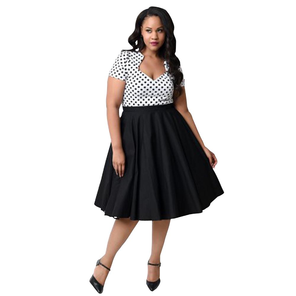 New Plus Size Swing Dress Women Retro Deep V Neck Polka Dot Dress