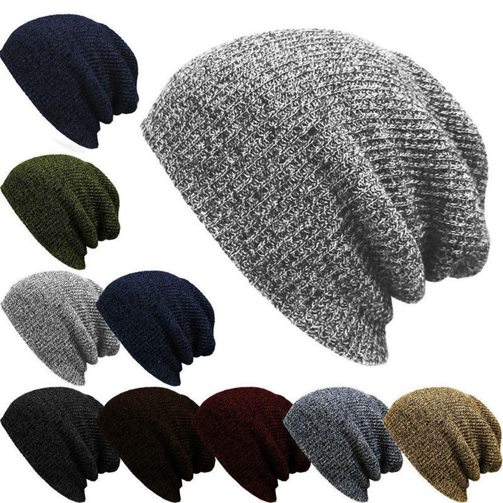 665541c12e0 Details about Men Women Unisex Knit Baggy Beanie Winter Hat Ski Slouchy  Chic Knitted Cap Skull