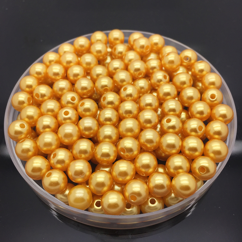 Wholesale 100PCS 6mm Gold Acrylic Round Pearl Spacer Loose Beads Jewelry Making