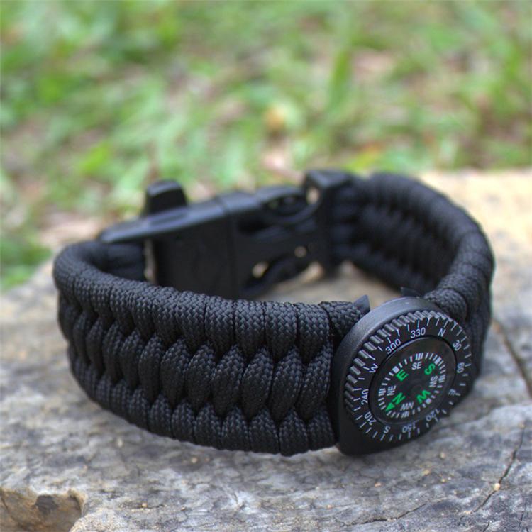 Bracelet de Survie Paracorde Tressage Boussole Allumé-feu Sifflet Boucle Corde