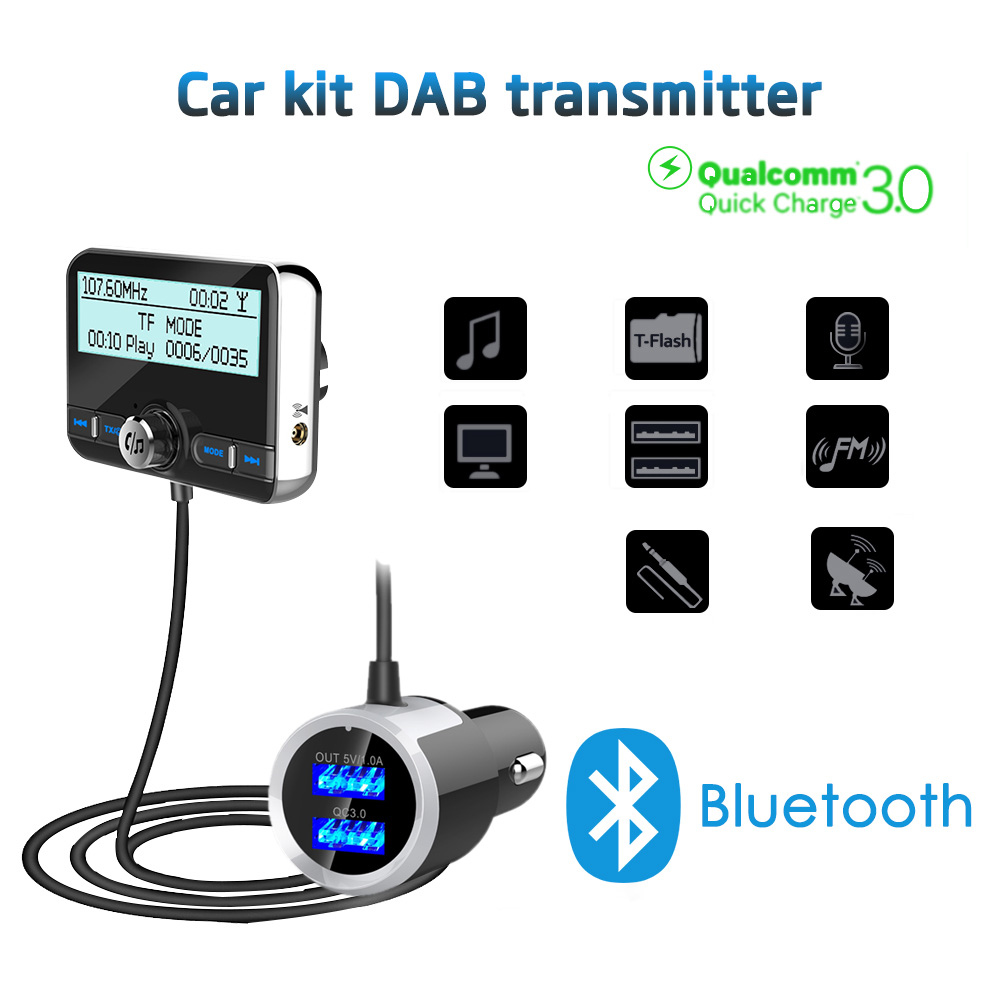 LCD In-Car DAB Bluetooth FM Transmitter Radio Receiver USB Charger Digital Audio