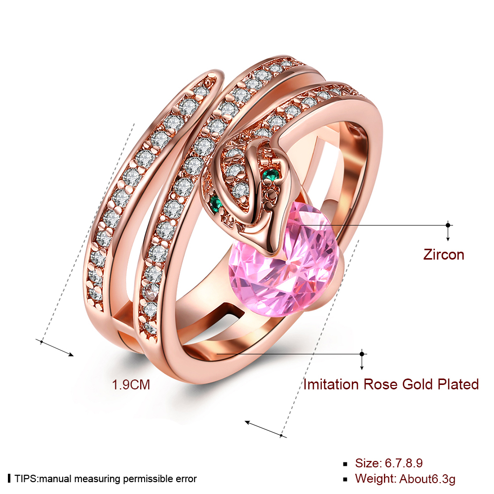 Rose Gold Plated Engagement Ring Wedding Band Unique Snake Ring For ...