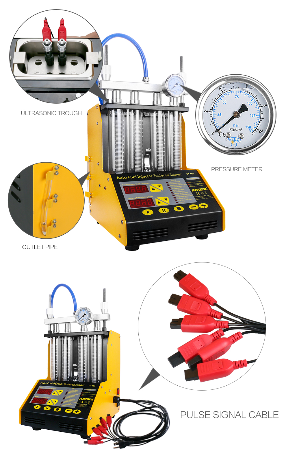 Details about AUTOOL CT150 Ultrasonic Fuel Injector Cleaner & Tester + Free  Autool X60 HUD