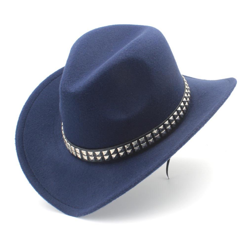 54CM Children Boy Girl Fashion Turquoise Jazz Panama Hat Wool Felt  Wide Brim