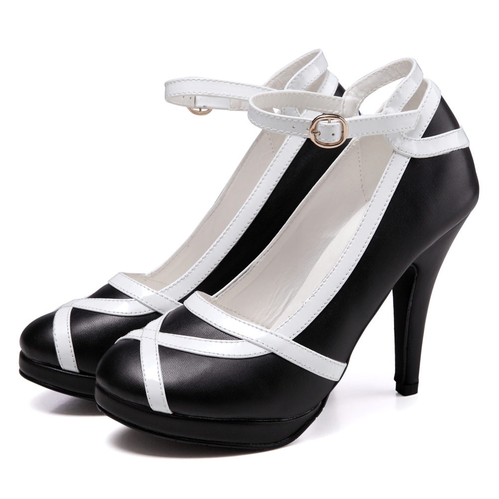 Princess-White-And-Black-Red-Women-Shoes-Straps-Dress-Bridal-High-Heels-Pumps