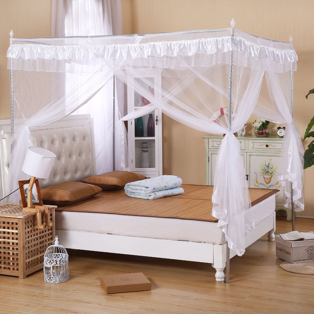 4-Corners-Post-Bed-Curtain-Canopy-Mosquito-Net- & 4 Corners Post Bed Curtain Canopy Mosquito Net Twin-XL Full Queen ...