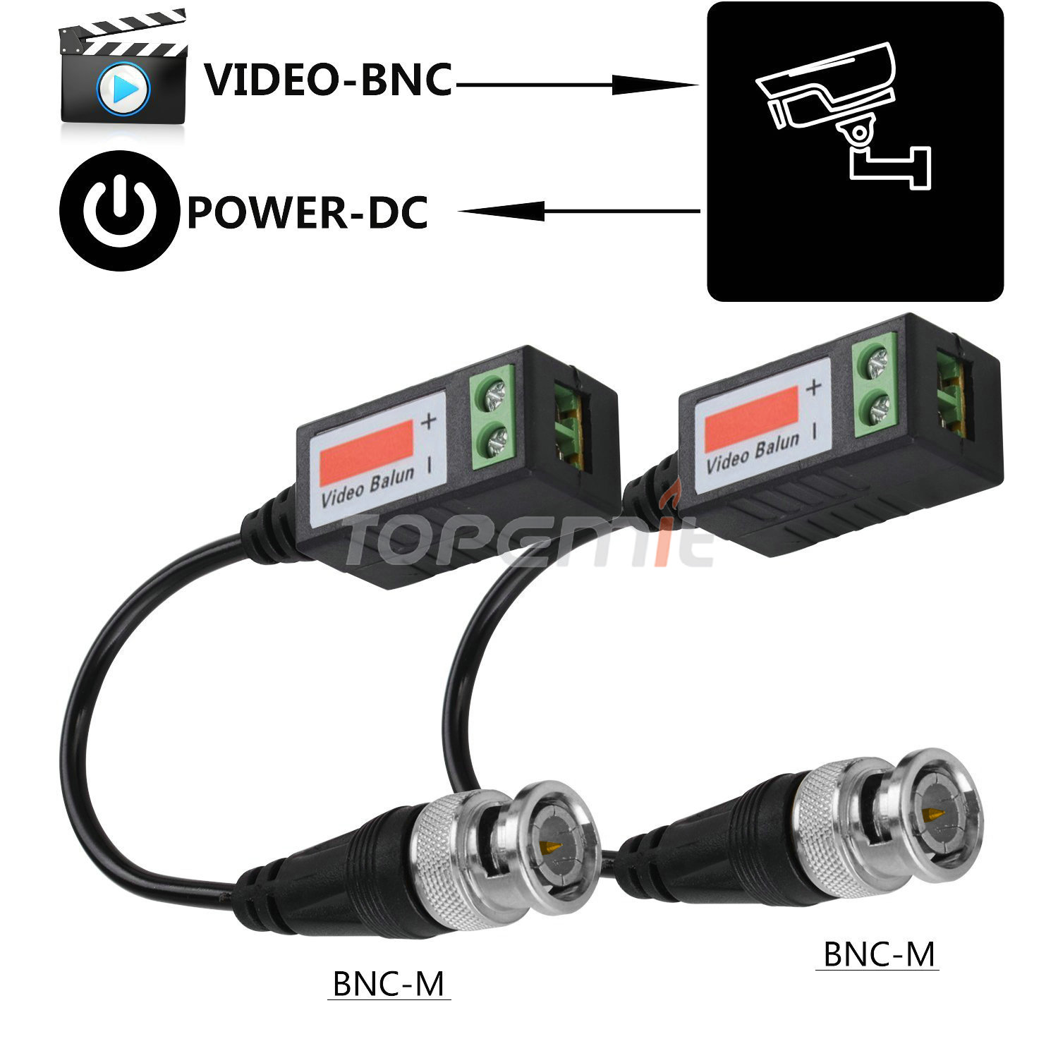20 Pair KM CCTV Cam Passive Transceiver Video Balun Twisted BNC Connector Cable