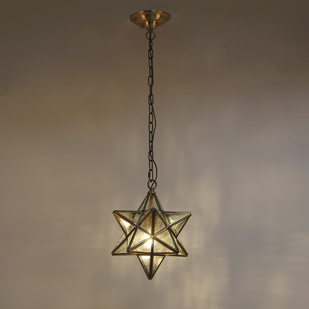 Details about Moravian Star Pendant Light with Textured Ripple Glass,  Vintage Chandelier Lamp
