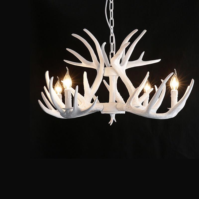 Details About Vintage Mid Century Chandelier Lighting White Antler Pendant Light Fixture Decor