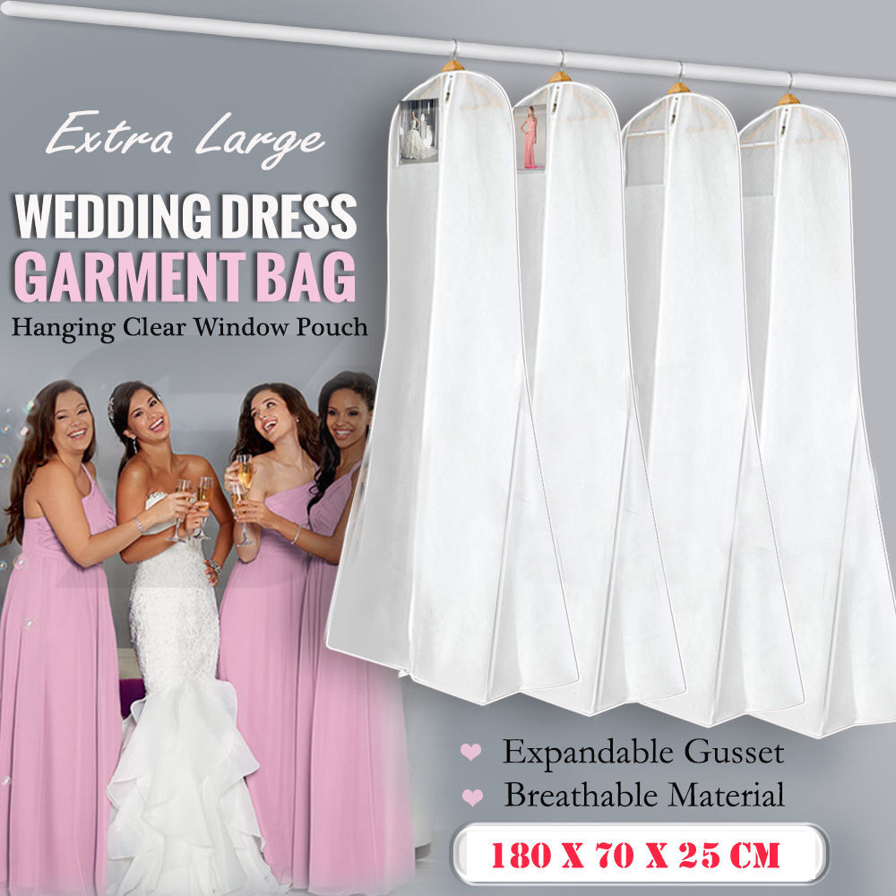 White extra large wedding dress bridal gown garment for Wedding dress garment bag for air travel