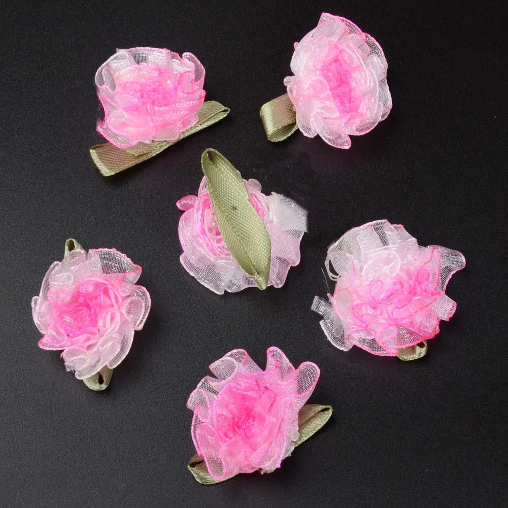 10/50PCS Organza Ribbon Lotus Spend Flower Appliques/Craft/Clothes ...