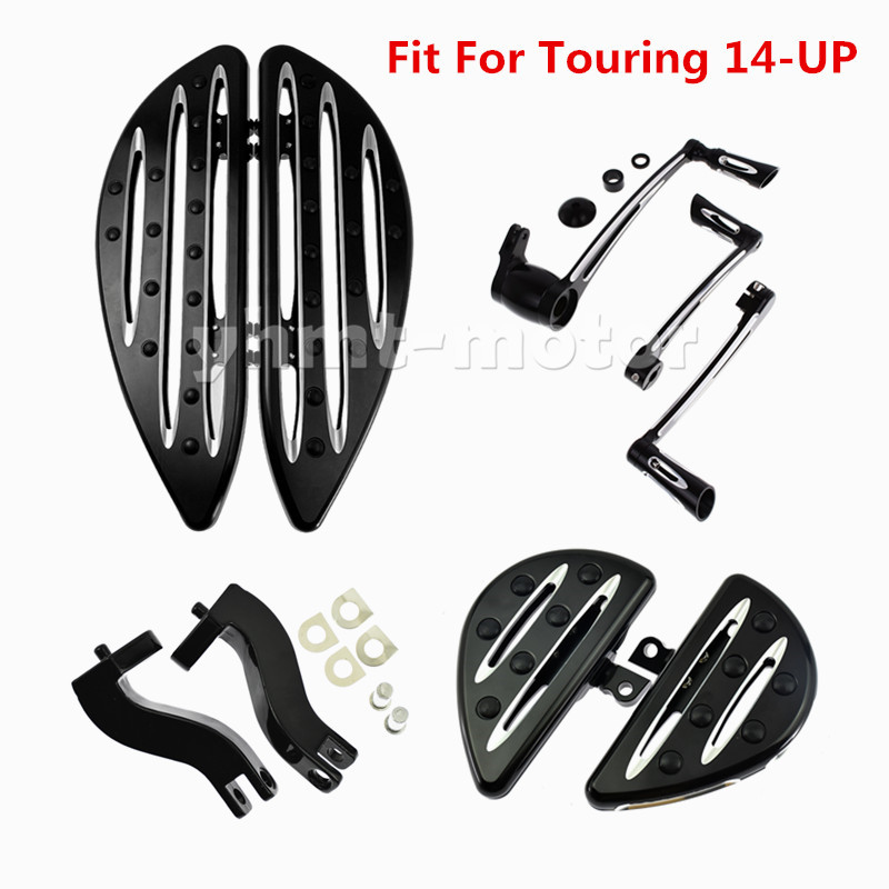 Black Rear Foot Pegs Floorboard Brake Shift Lever Peg Fits Touring Glide 2014-up